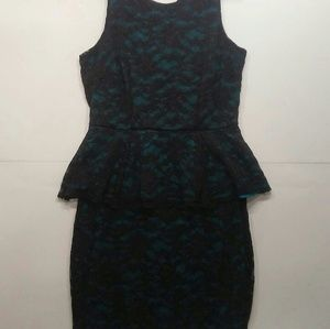 Nicole by Nicole Miller Black Turquoise Dress Sm